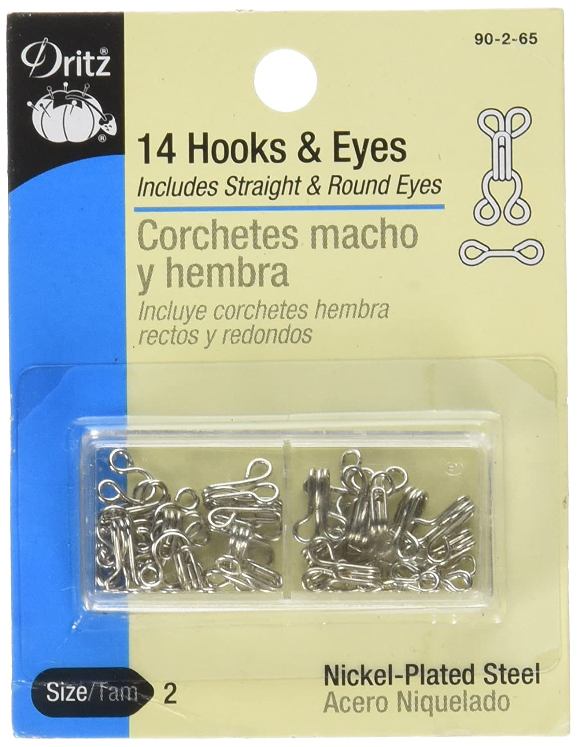 Dritz Hooks & Eyes Nickel Size 2 90-2-65