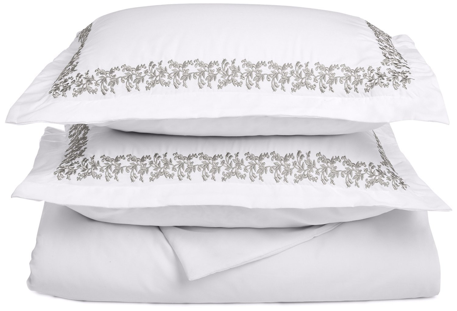 Super Soft Light Weight, 100% Brushed Microfiber, Wrinkle Resistant, Twin/Twin XL Duvet Cover, White with Grey Floral Lace Embroidery Pillowshams in Gift Box