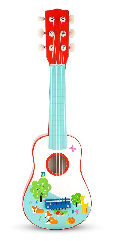 Small Foot 10725 Kindergitarre aus Buntem Holz, im kindgerechten Design ALS erstes Musikinstrument geeignet, fördert die musikalische Früherziehung Small Foot by Legler