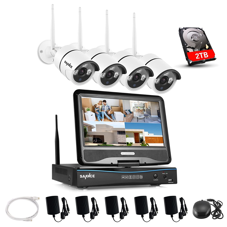 SANNCE(センス)4CHワイヤレス防犯カメラセット100万画素 監視カメラ 10.1インチモニター付き防犯監視レコーダー+4台無線監視カメラセット 日本語システム CCTVセキュリティカメラシステム 720P 高画質 暗視機能 モーション機能 動態検知 メール警報 スマホに対応遠隔監視 モニター付き HDD2TB内蔵 B074CVMBJ2
