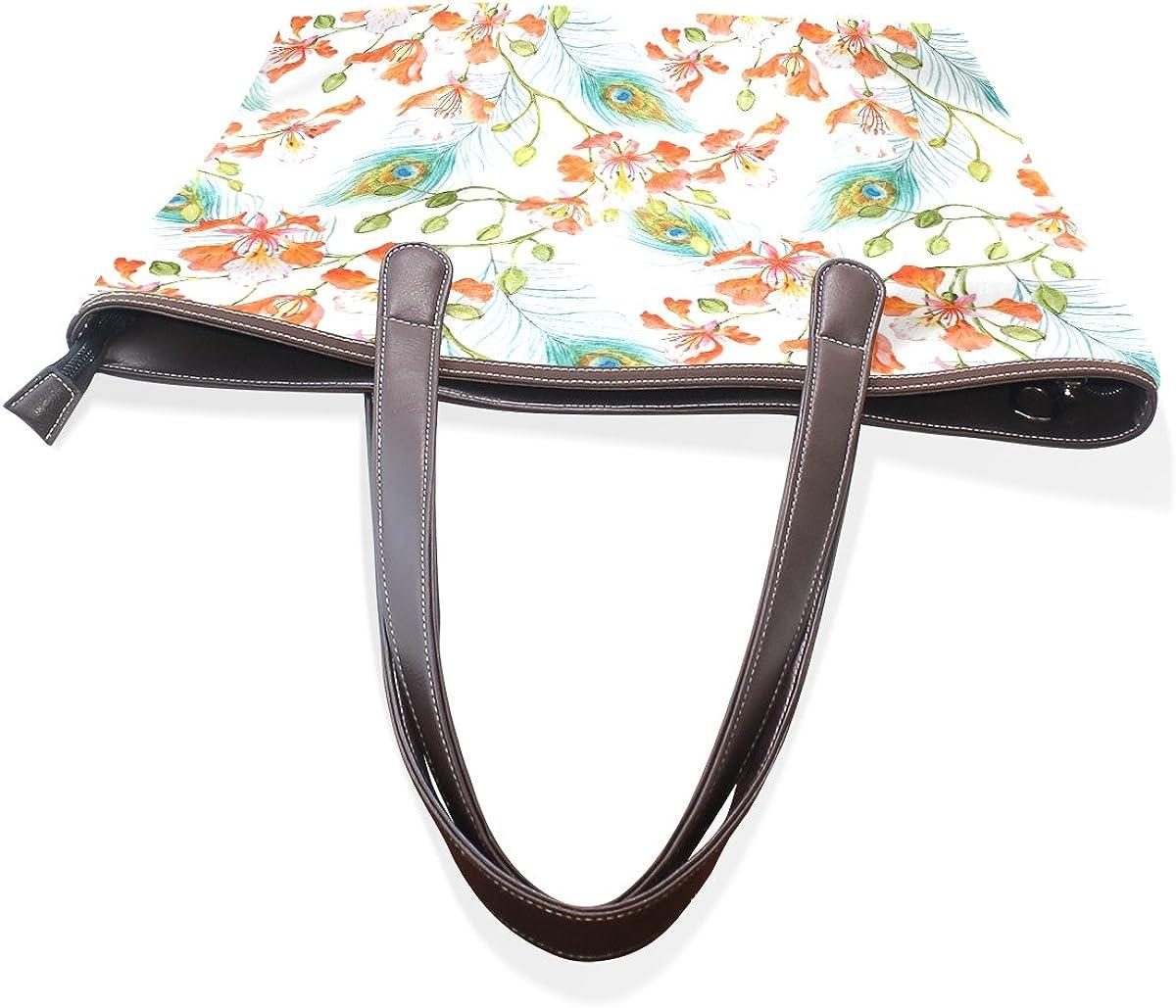 Womens Fashion Bags Beautiful Peacock Feathers Handbag Men Womans Totes Bags Pu Leather Top Handle Satchel Carry Handbag
