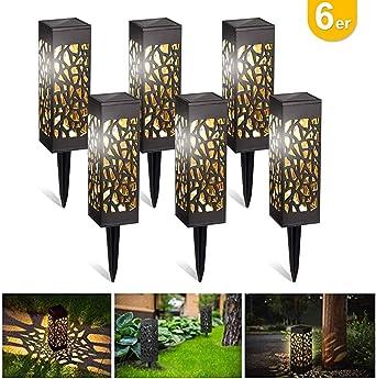 Kefflum 6x Lámpara solar LED para jardín, lámpara de jardín para exterior, luz blanca cálida, resistente al agua IP55,lámpara solar decorativa para terraza, jardín, césped, patio: Amazon.es: Iluminación
