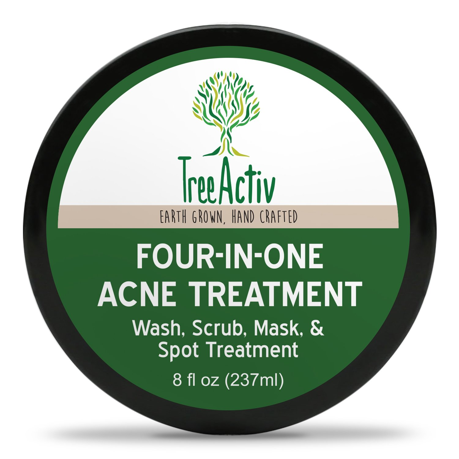 TreeActiv Four-in-One Acne Treatment | Wash, Scrub, Mask, and Spot Treatment | Heals Rosacea | Exfoliating Sugar | Face or Body | Natural Sulfur Clear Skin Cleanser | Bentonite (4 Ounce) TreeActiv+