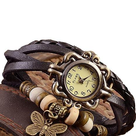 9302fa0ef023 Hosaire Accesorios de moda Envoltura de armadura retro alrededor de la  pulsera de cuero con muñeca de mariposa Reloj de pulsera Mujer Cuarzo ...