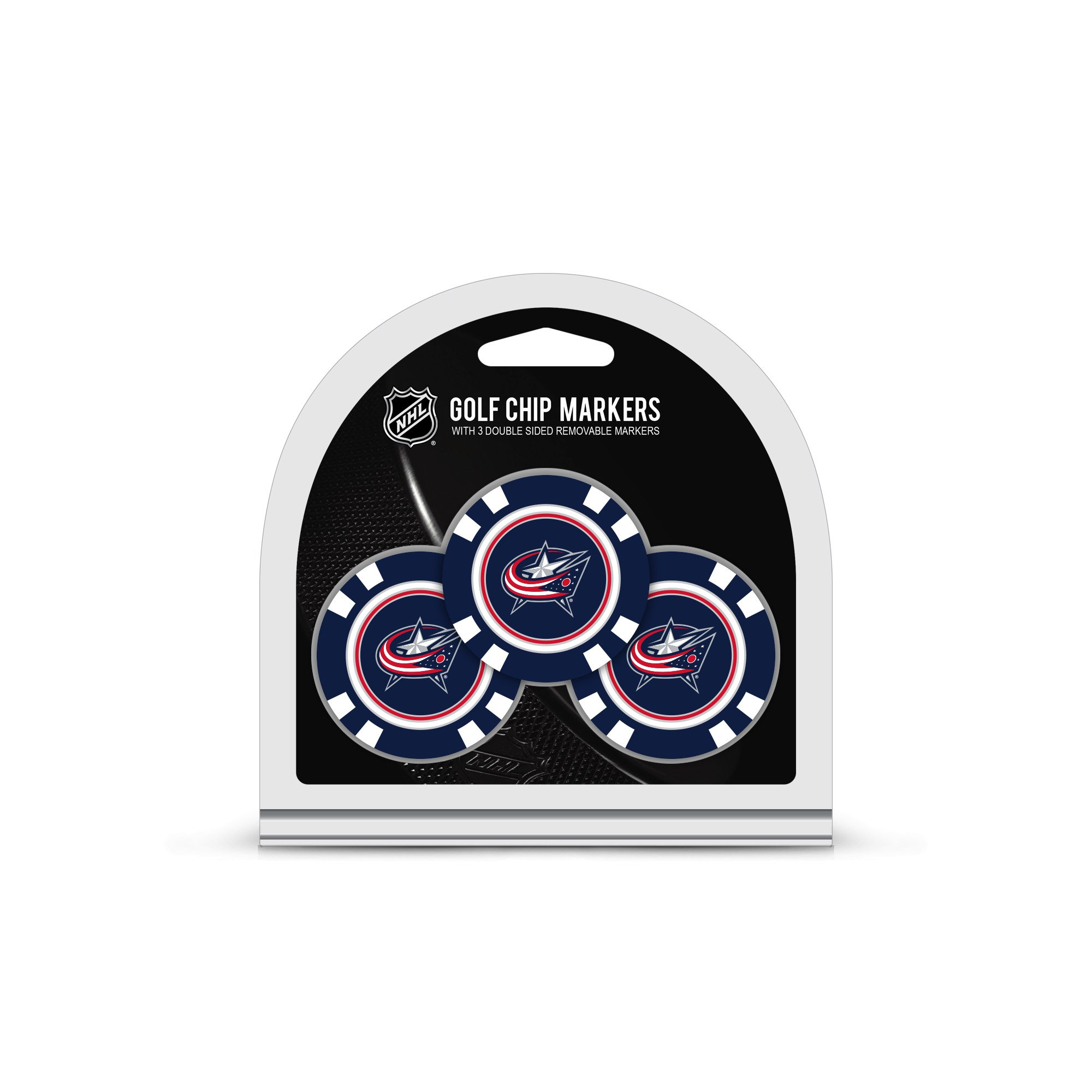 Team Golf NHL Columbus Blue Jackets Golf Chip Ball Markers (3 Count), Poker Chip Size with Pop Out Smaller Double-Sided Enamel Markers