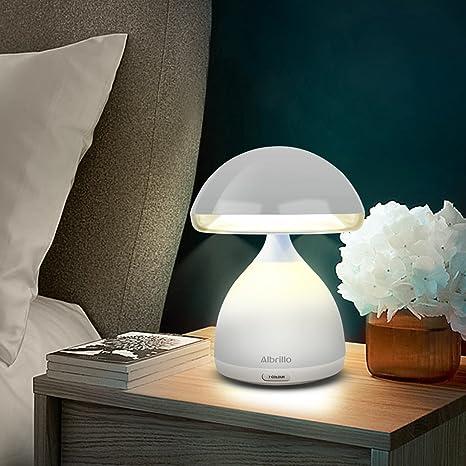 Albrillo Lampada Atmosfera da Comodino a forma di fungo, LED con 7 cambiamenti di colore, luce bianca + RGB, luce notturna con porta USB e funzione di