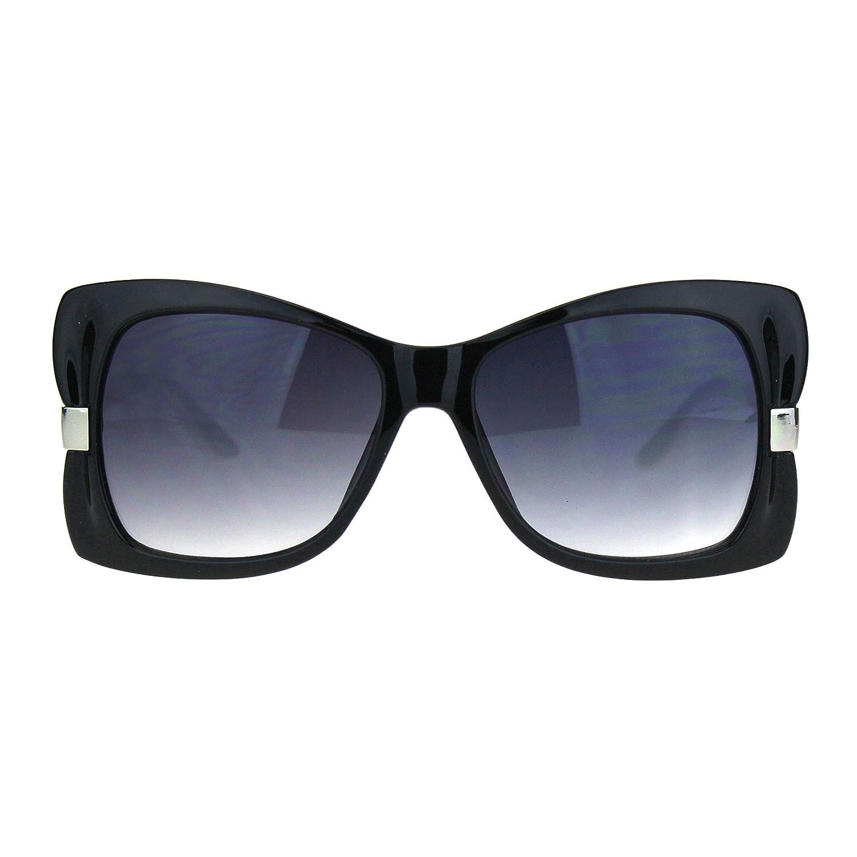 Womens Ribbon Shape Designer Fashion Butterfly Diva Sunglasses Black White Smoke