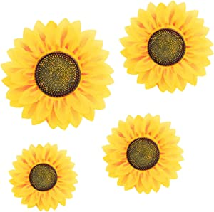 4Pcs Removable Wall Decals 3D Sunflower Wall Sticker Wall Art Home Decor Sunflowers Wall Stickers Decal for Kids Baby Living Room Bedroom Wedding Party Decoration