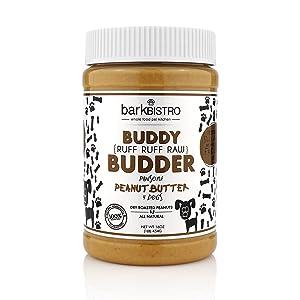 Bark Bistro Company, Ruff Ruff Raw Buddy Budder, 100% Natural Dog Peanut Butter, Healthy Peanut Butter Dog Treats, Stuff in Toy, Dog Pill Pocket, Made in USA, (16oz Jars)
