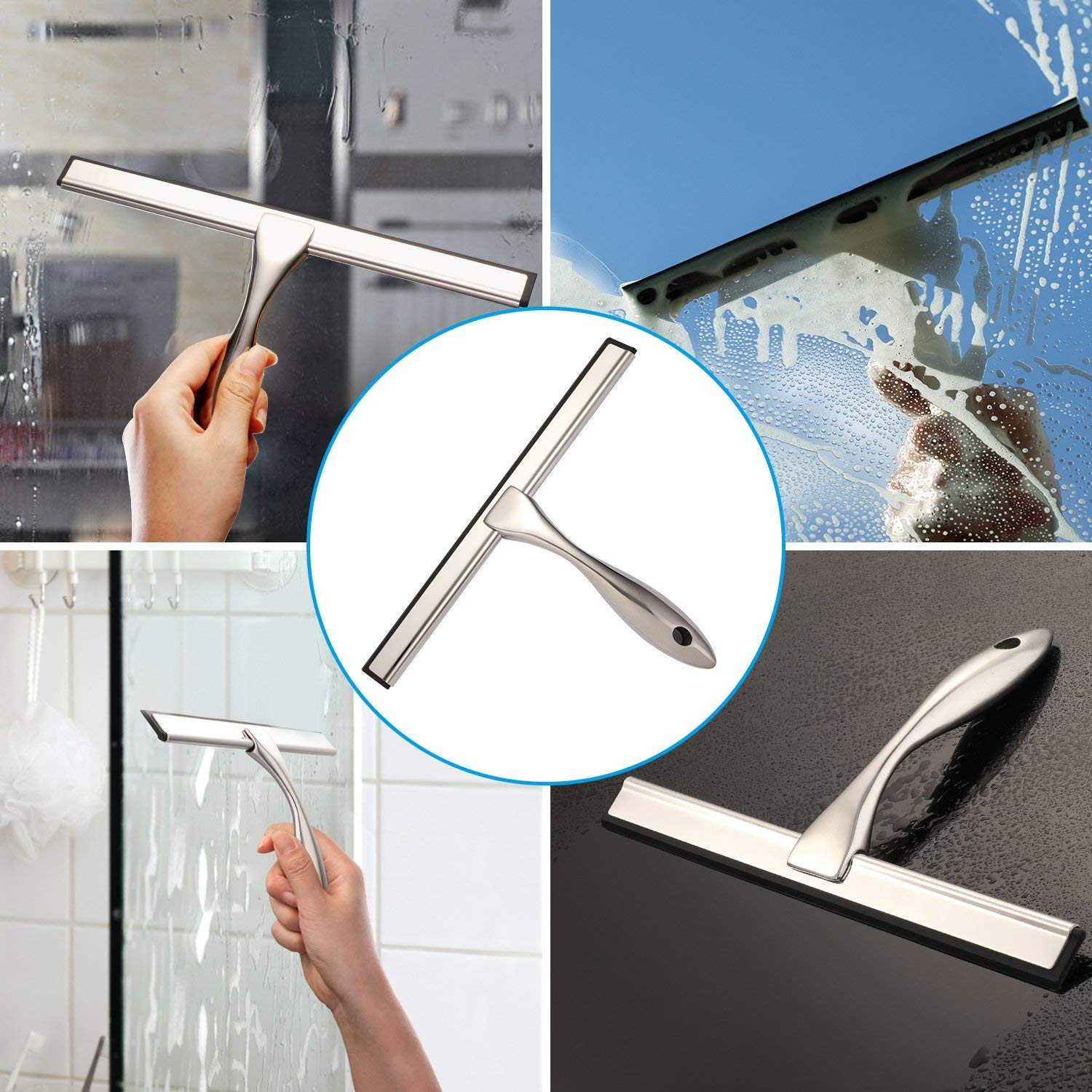 Hiware All-Purpose Shower Squeegee for Shower Doors, Bathroom, Window and Car Glass - Stainless Steel, 14 Inches by Hiware (Image #7)