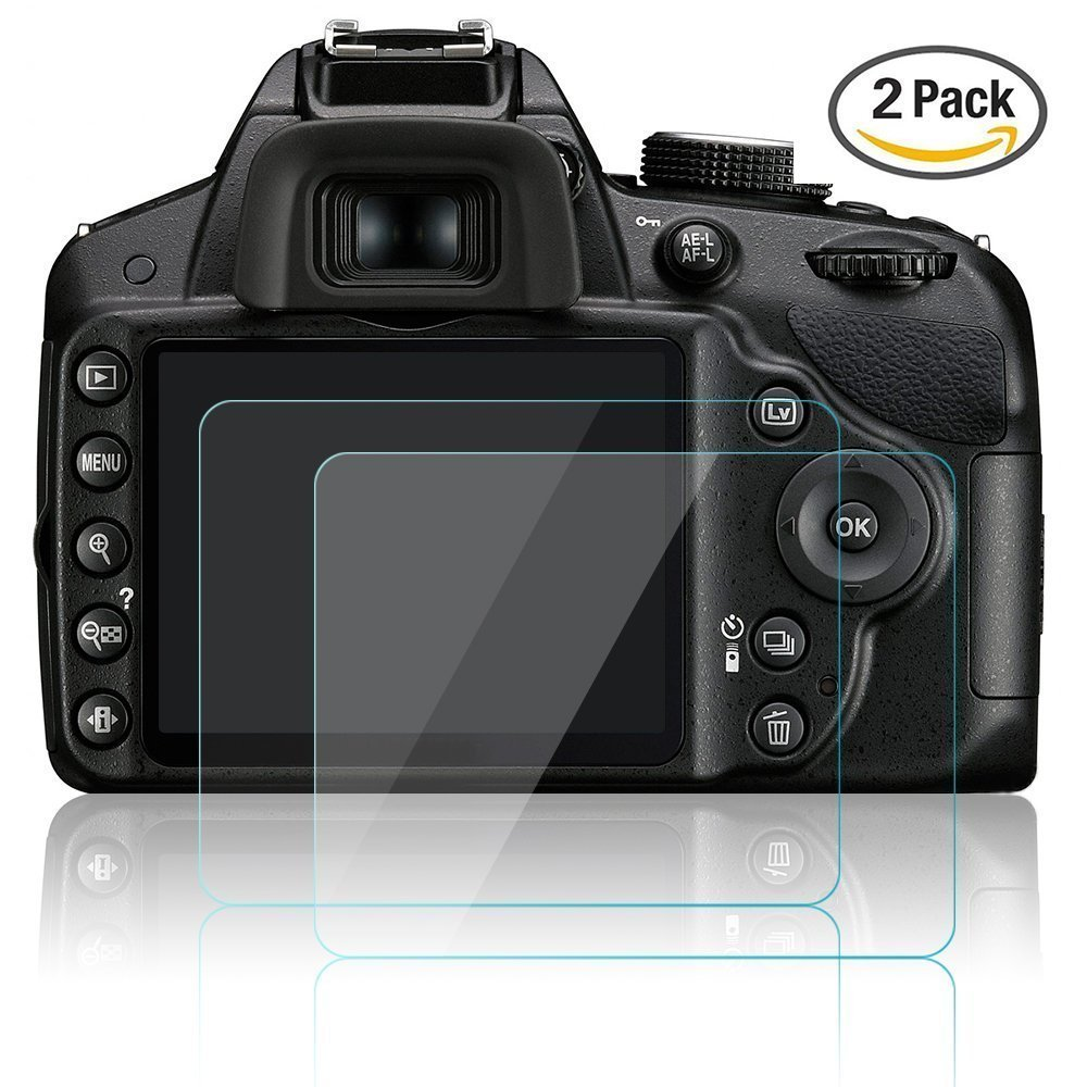 Kameraschutzfolie für Nikon D3200 D3400 D3300 D3100, CAM-ULATA Anti-Kratzer Blendfreies, Gehärtetes Glas LCD Ultra Crystal Clear Displayschutzfolie für DSLR, 2 Pack