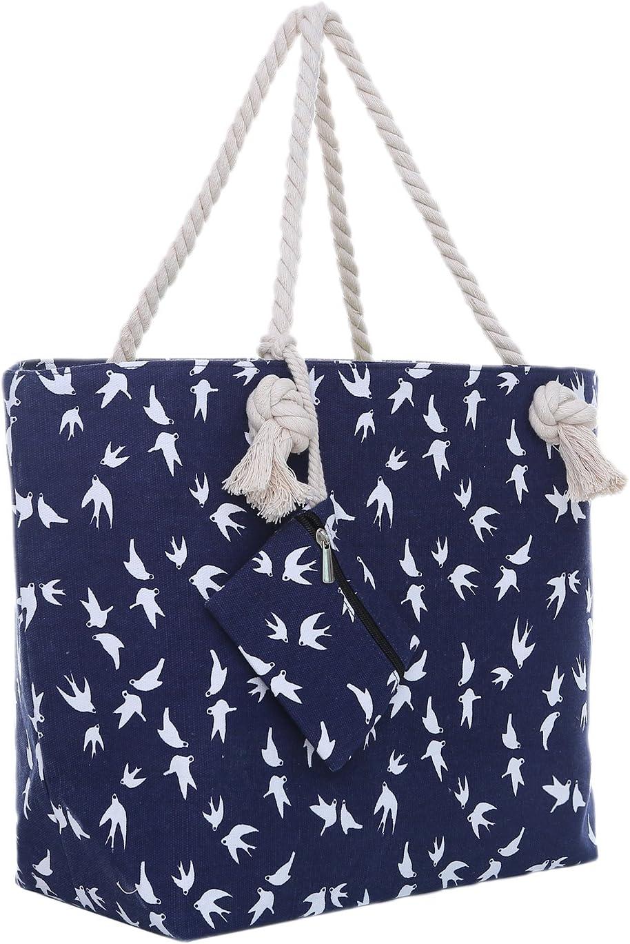 Bolsa de Playa Grande con Cremallera 58 x 38 x 18 cm diseño marítimo Gaviota Azul Blanco Shopper Bolsa de Hombro Estilo de yate (Yacht Style)