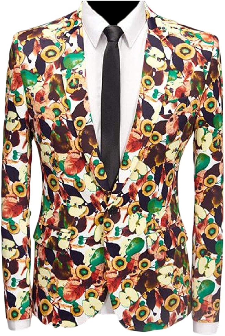 FSSE Mens Casual Long Sleeve Slim Business Print One Button Blazer Jacket