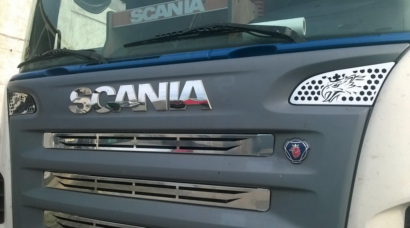 Decoration for SCANIA R 2 Pcs P and G Series 2004-2009 Made of Polished Stainless Steel Truck Trucker Front Cover Accessories Griffin