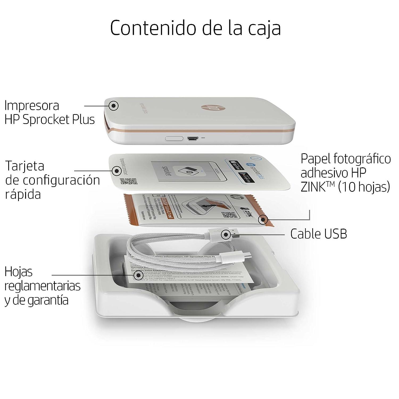 HP Sprocket Plus - Impresora fotográfica portátil (tecnología de impresión Zink, Bluetooth, fotos 5.8 x 8.6 cm), blanco