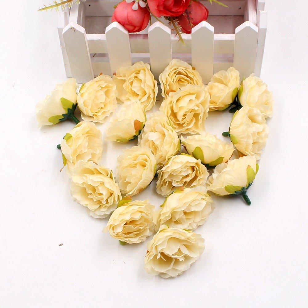 人工花フェイク花頭Blooming牡丹シルクDIYパーティー祭ホームデコレーションウェディング部屋装飾結婚Shoe帽子アクセサリー手作りクラフト30pcs イエロー B07CZYJ5BP  イエロー