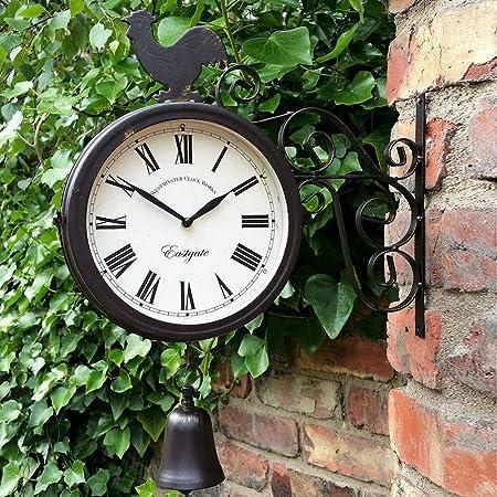 Funihut - Reloj de Pared de jardín Pintado a Mano de Color óxido para decoración de Interior o Exterior: Amazon.es: Hogar