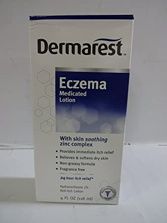 3 Pack Dermarest Eczema Medicated Lotion, Itch Relief Hydrocortisone 1% 4oz Each Hyaluronic Acid Skin Serum 1 oz. (Pack of 2)