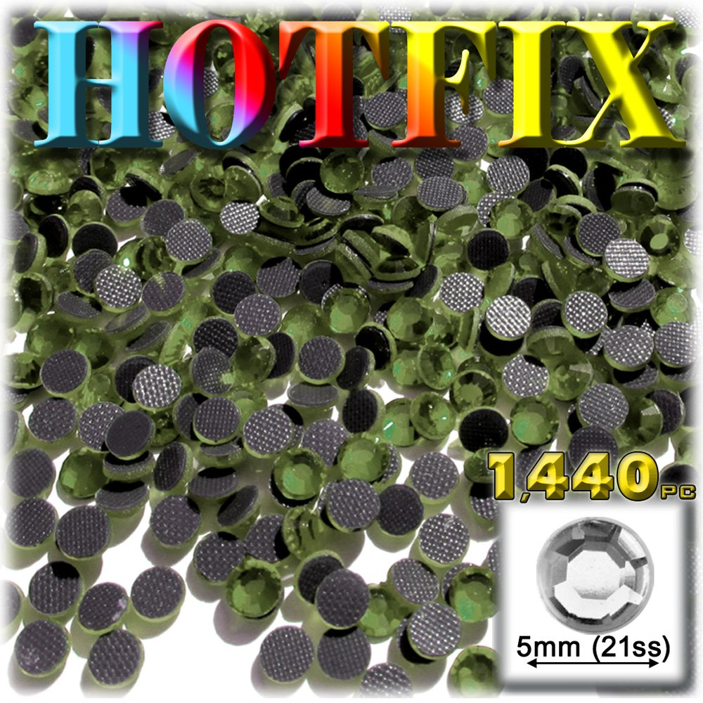工芸のアウトレットDMC Hotfix優れた品質ガラス1440-pieceラウンドラインストーン装飾、5 mm、オリーブグリーン   B0088ETZGU