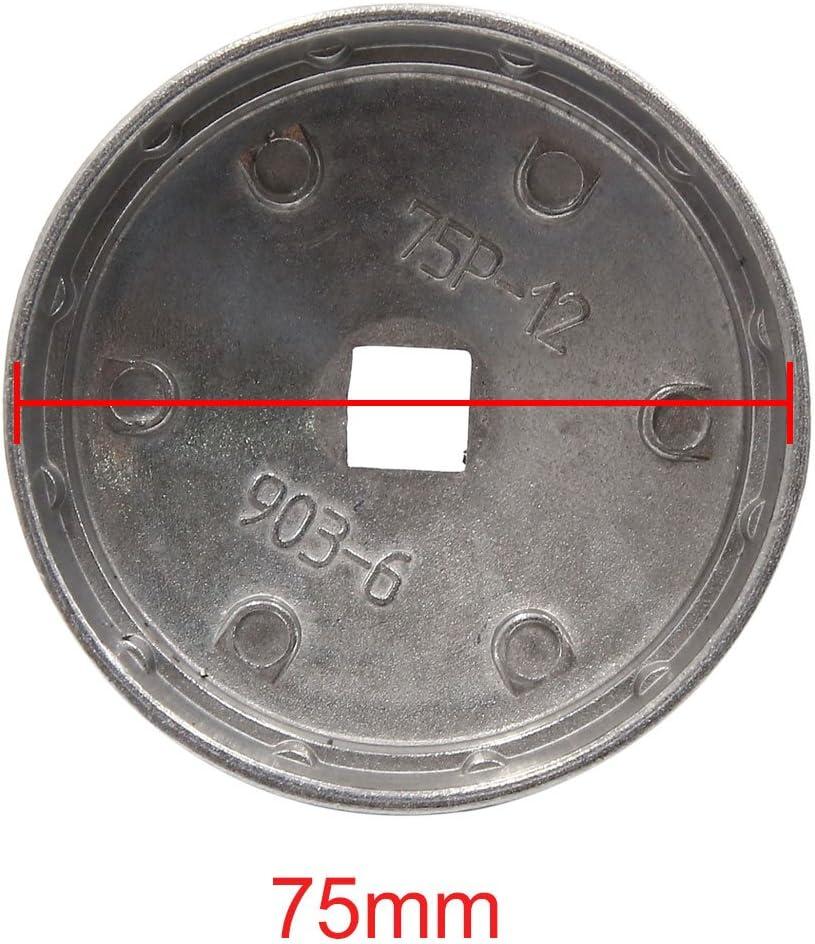 sourcing map 75mm Diametro Interno 12 Scanalature Metallo Olio Filtro Chiave Cappuccio Presa Rimozione Strumento per Auto