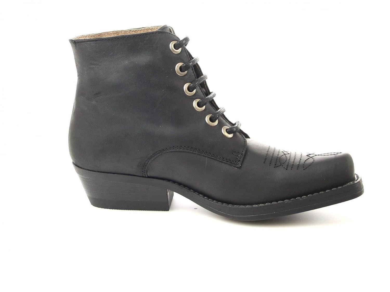 Fashion Boots Stiefelette BU1010 Schwarz Damen Western Schnürstiefelette