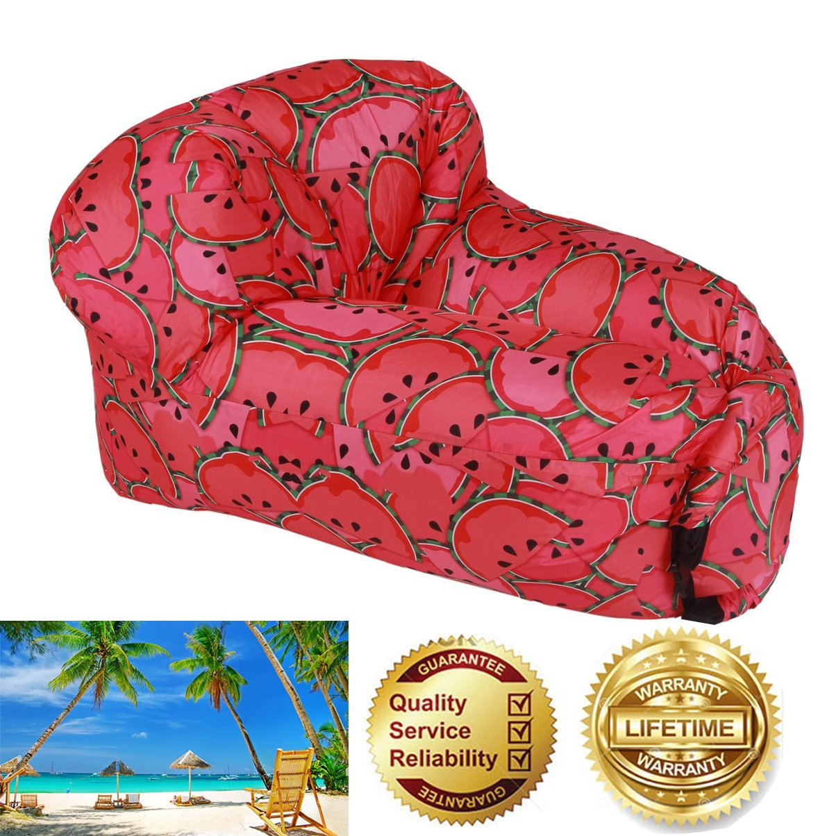 Inflatable Lounger Air Sofa Hammock for Children toハワイアンビーチ& Pool Partyまたはポータブルインフレータブルラウンジチェアキャンプ& Festival B07C92R38L スイカ スイカ
