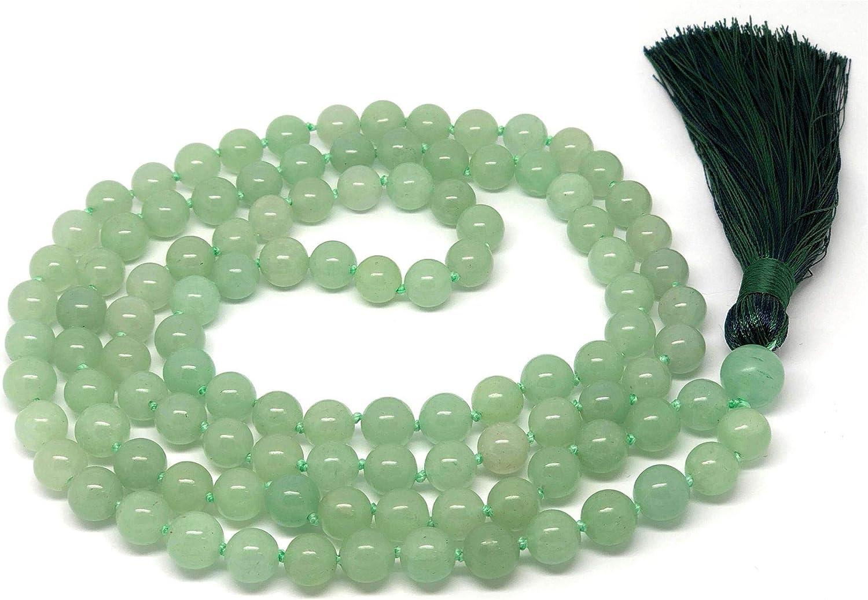 Givereldi Piedra Preciosa collar de cuentas de mala pulsera 108 cuentas de 6 mm de ancho - con nudos entre más 1 gran cuenta de gurú - oración, meditación o collar de borla