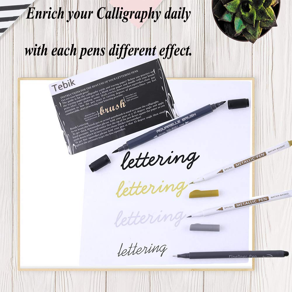 Calligraphy Brush Markers with Everything You Need for Beginners Writing,Bullet Journal,Art Drawing,Illustrations,Card Making,Design 24 Pack Hand Lettering Pens Kit Tebik Calligraphy Pens Set