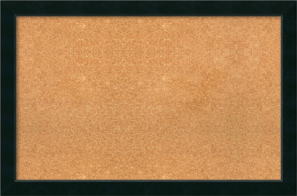 Amanti Art Choose Your Custom Size Natural Cork Corvino Narrow Black Framed Bulletin Boards, 32x20