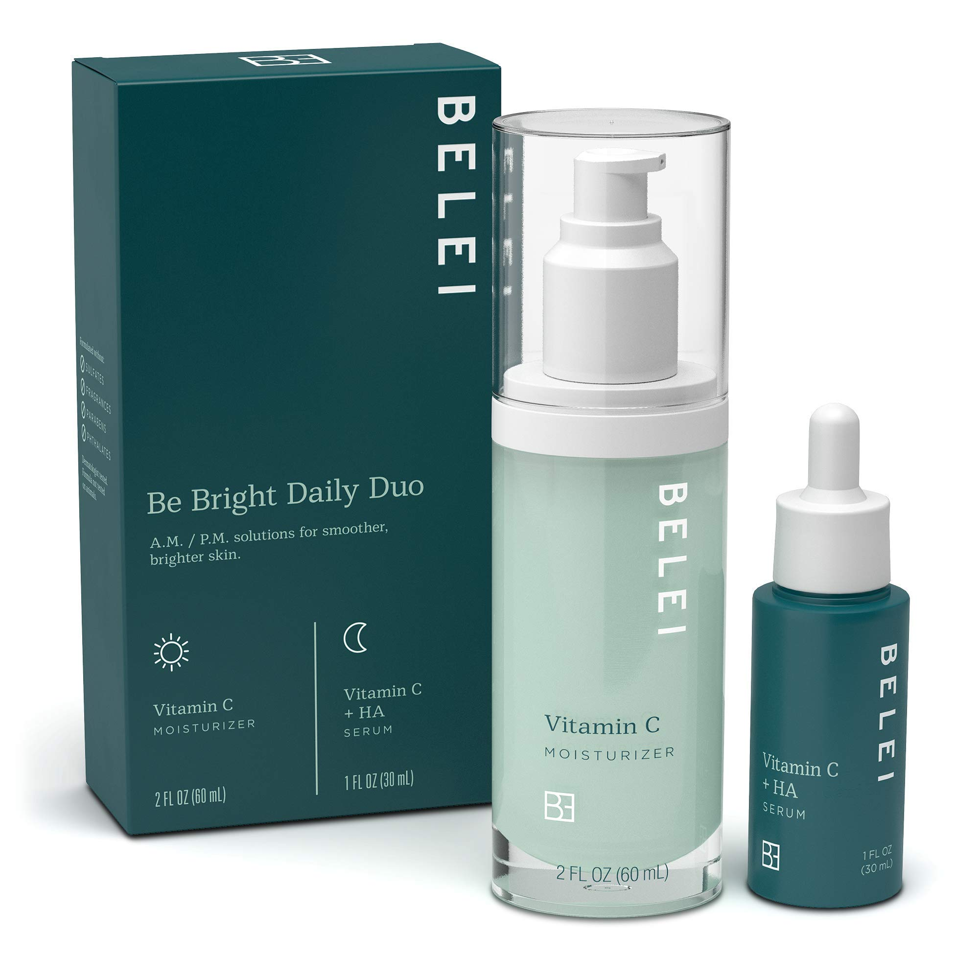 Belei by Amazon: 'Be Bright' Daily Duo Skin Care Starter Kit (Vitamin C Moisturizer and Vitamin C + HA Serum) Helps with Brightening, Hydration, and Dullness