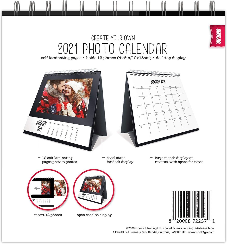 Contiene 12 foto 4x6 Shot2go 2021 Calendario fotografico da tavolo nero