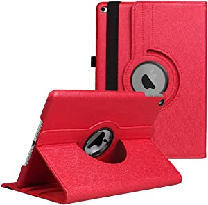 "iPad 9.7 Case,iPad 5th/6th Generation Case - 360 Degree Rotating Stand Protective Cover with Star Case with Auto Sleep/Wake for Apple iPad 9.7"" 2018 2017 / iPad Air 2 / iPad Air Case (Red)"