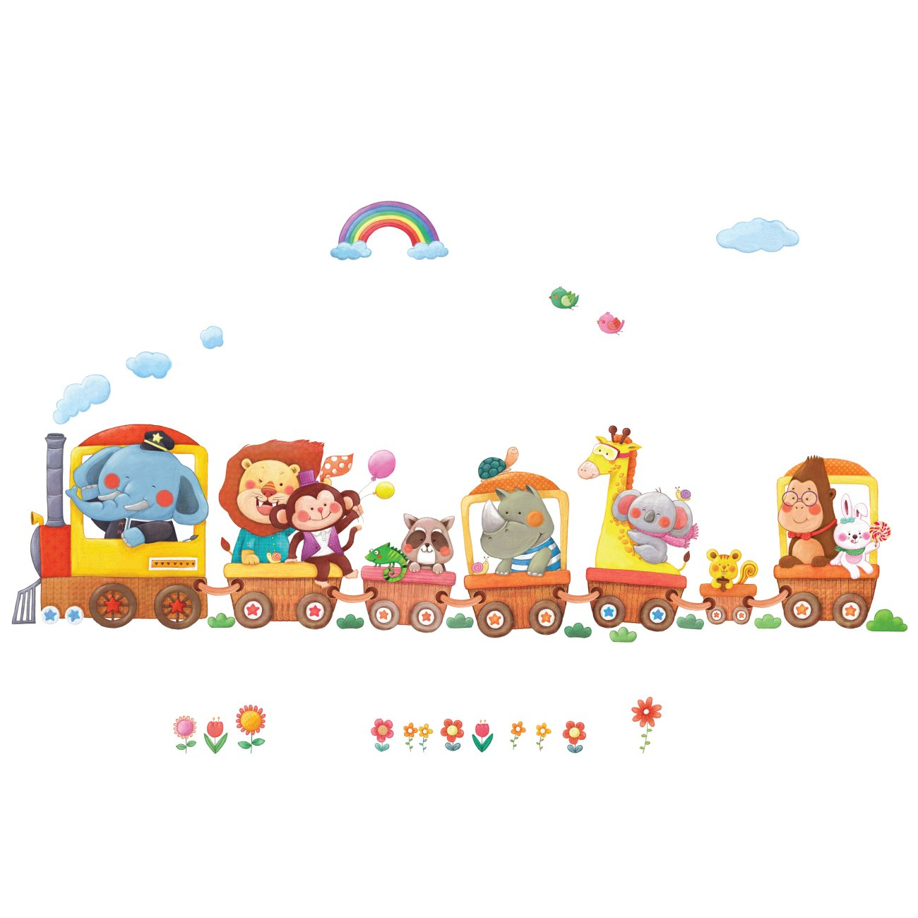 Decowall DA-1406A Animal Trains Kids Wall Decals Wall Stickers Peel and Stick Removable Wall Stickers for Kids Nursery Bedroom Living Room