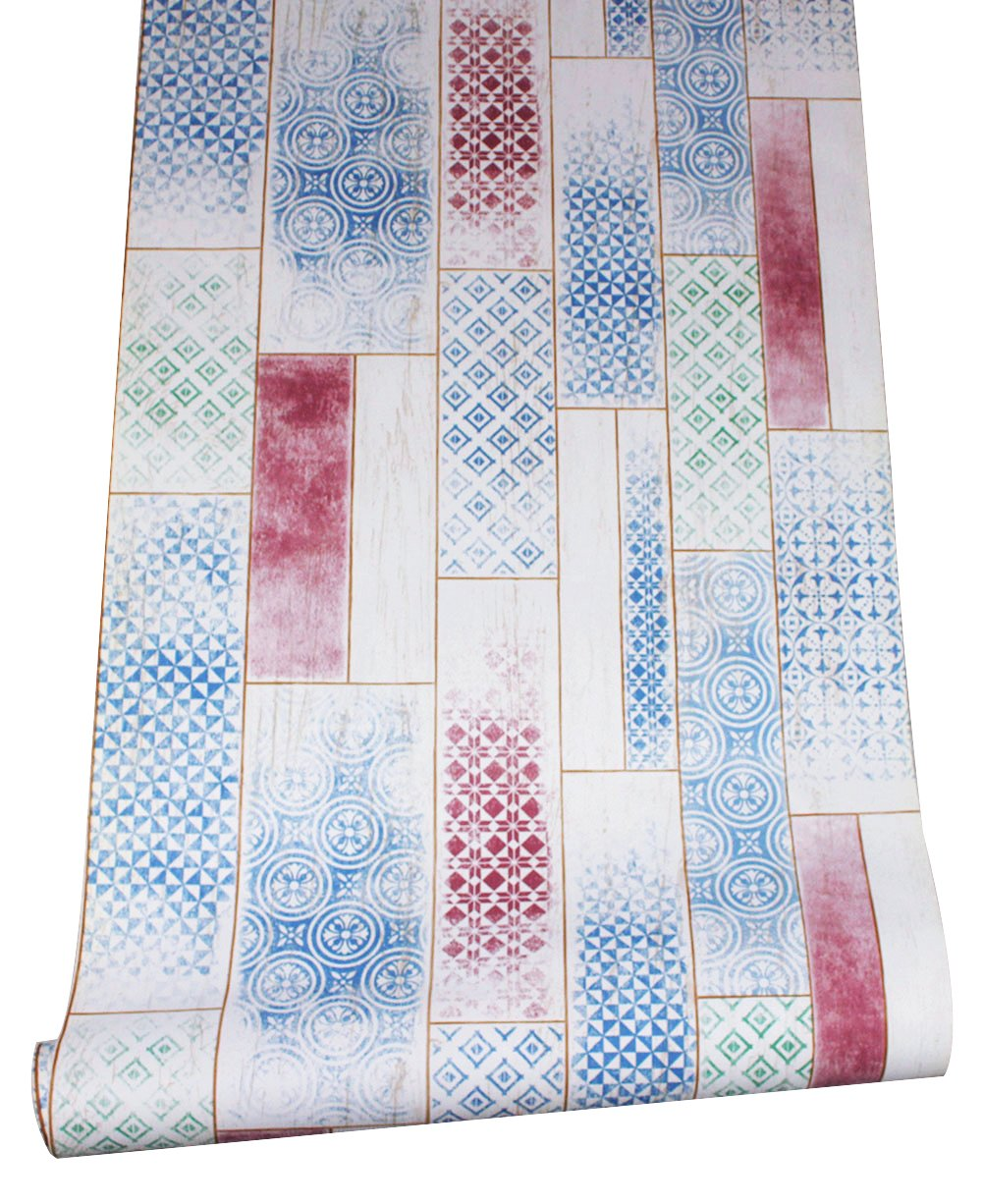HaokHome 370703 Distressed Faux Wood Plank Wallpaper Moroccan Faded Brown//Blue//Peach//Green for Home Kitchen Decor 20.8x 33ft Dongguan Haok Home Decoration Co Ltd