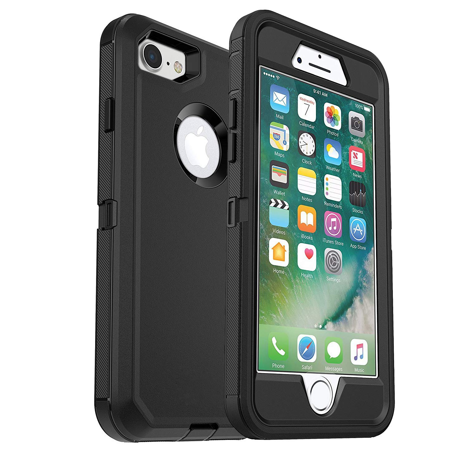 iPhone 7 Defender Case (Case Only) MAET iPhone 8 Heavy Duty Case Built-in Screen Protector Rugged Rubber Case Compatible Phone 7&iPhone 8 - Black