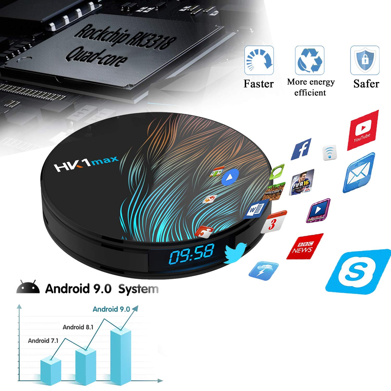 Android TV Box 9.0 4GB 64GB/Smart TV Box Streaming Media Player RK3318 USB 3.0 Ultra HD//4K//HDR Dual Band WiFi 2.4GHz//5.8GHz Bluetooth 4.1 Set Top Box with Wireless Keyboard-HK1 MAX 4G+64G