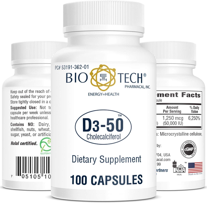 Bio-Tech Pharmacal Vitamin D3 (D3-50 50k IU, 100 Count)