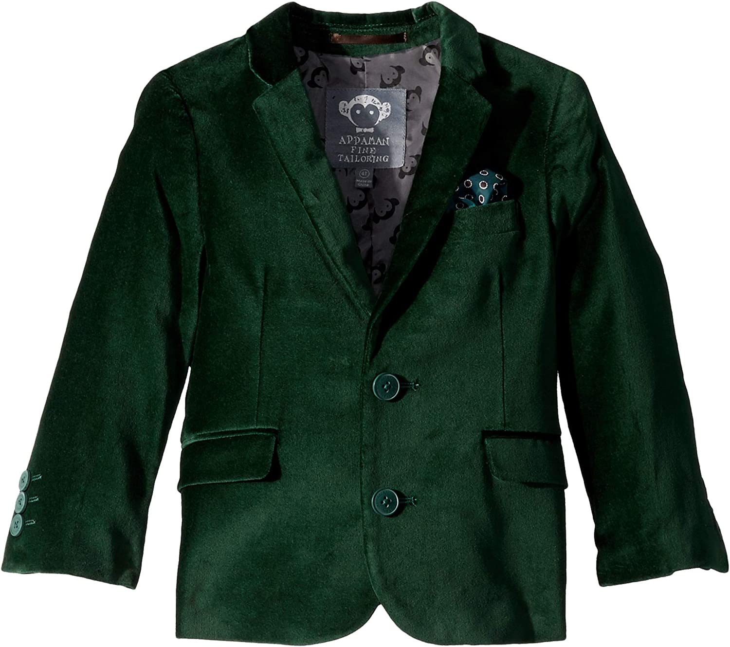Appaman Kids Mens Extra Soft Velvet Blazer with Built in Pocket Square (Toddler/Little Kids/Big Kids)