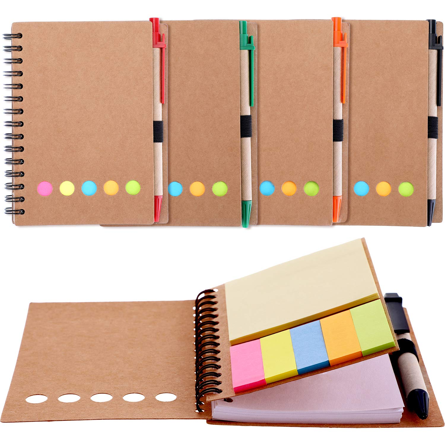 Gejoy 4 Pieces Spiral Notebook Kraft Brown Cover Notepad, Include Lined Blank Page, 4 Colors Pen and 6 Colors Sticky Notes