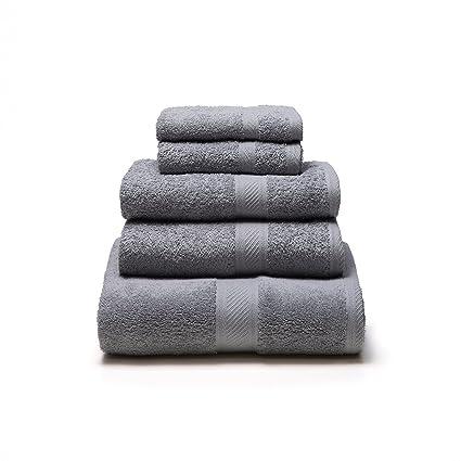 Sancarlos - Juego de 5 toallas YANAI, 100% Algodón, Color Gris