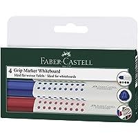 Faber-Castell MK158304 4-Pieces Grip Whiteboard Marker, Round Tip