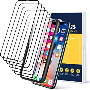 Pofesun (6 Pack) Edge-to-Edge Screen Protector for iPhone 11 and iPhone XR 6.1Inch, Full Framed Coverage Tempered Glass Screen Protector Compatible with iPhone XR/11[Guidance Frame Include]- Black