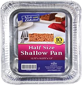 Nicole Home Collection Half Size Shallow Pack of 10 Aluminum Pans, 10 count, Silver