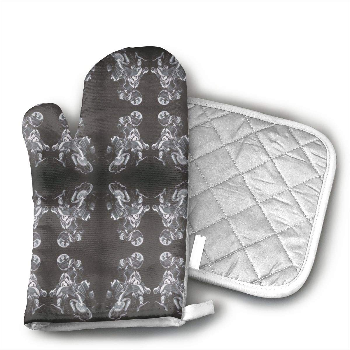 Jiqnajn6 Motorcycle Dirt Bike Motocross Oven Mitts,Heat Resistant Oven Gloves, Safe Cooking Baking, Grilling, Barbecue, Machine Washable,Pot Holders.