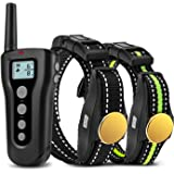 Bousnic Dog Training Collar 2 dogs 2018 Upgraded 1000ft Remote Rechargeable Waterproof Electric Shock Collar with Beep Vibration Shock for Small Medium Large Dogs