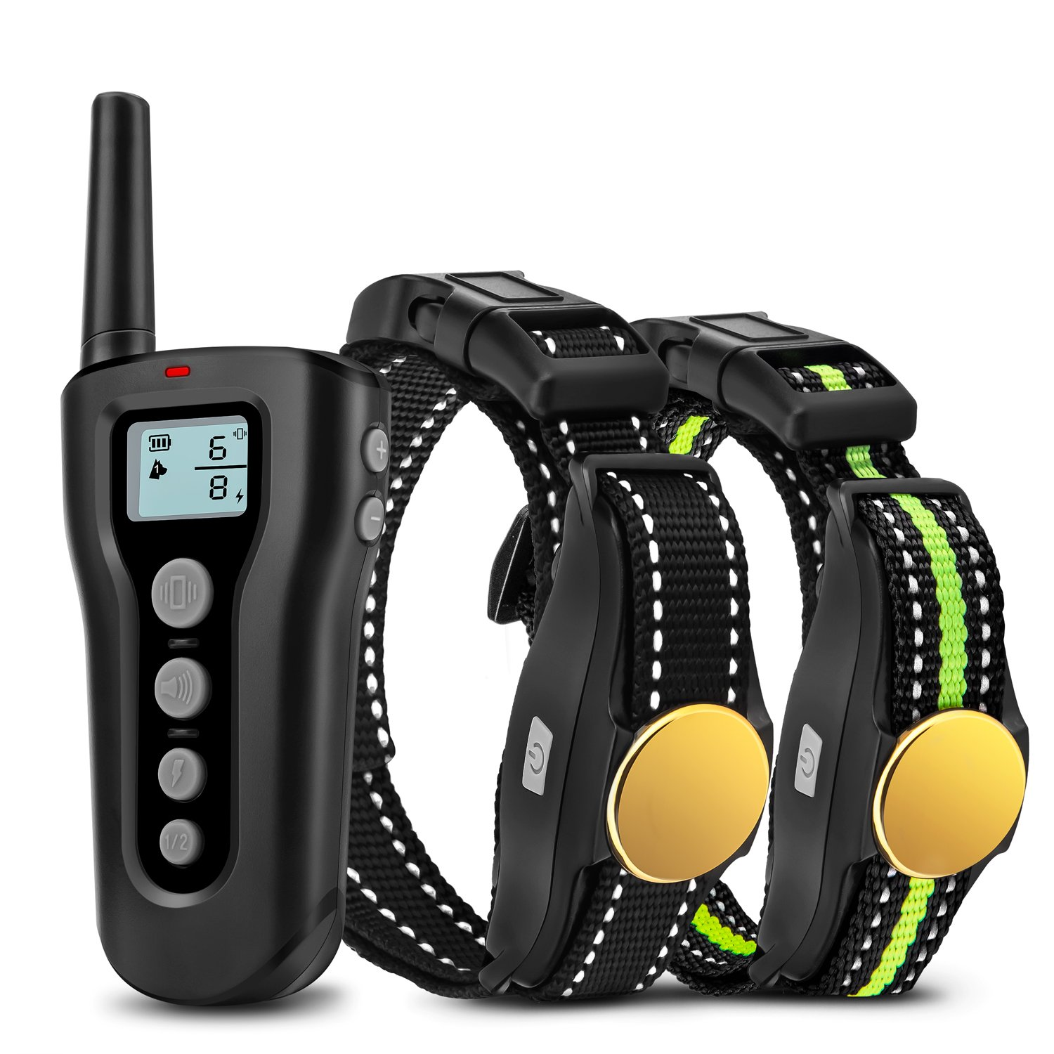 Bousnic Dog Training Collar 2 Dogs Upgraded 1000ft Remote Rechargeable Waterproof Electric Shock Collar with Beep Vibration Shock for Small Medium Large Dogs by Bousnic