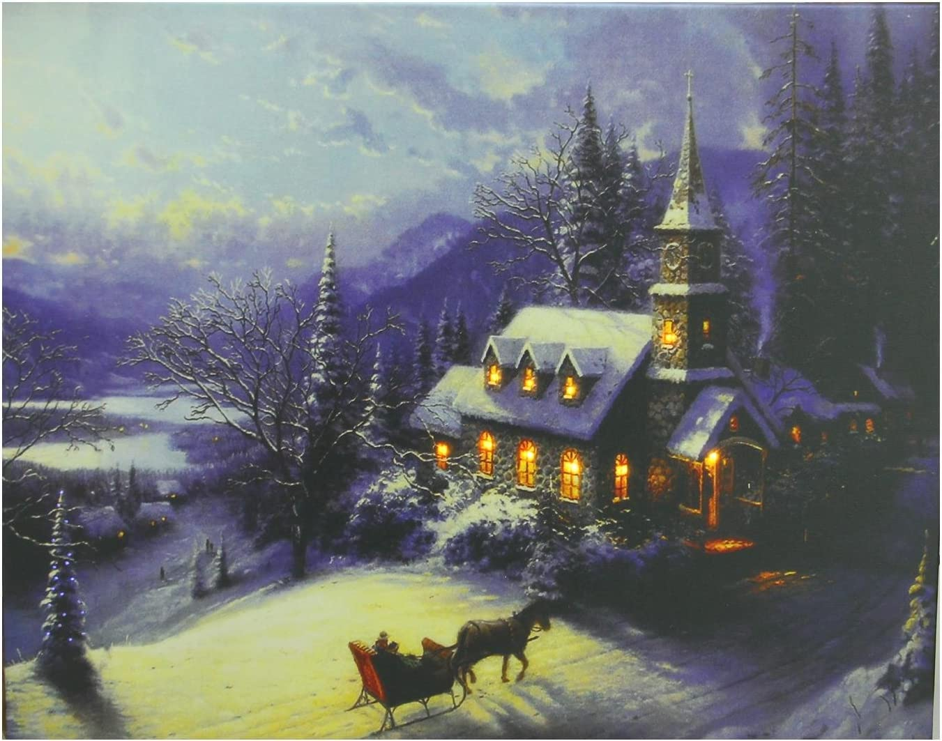Northlight Led Lighted Church In Wintry Woods Canvas Wall Art 15 75 X 19 75 Amazon Co Uk Kitchen Home