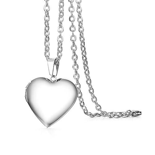 b6182647f47d Cupimatch Herz Medaillon zum Öffnen für Bilder Foto Anhänger Kette Damen  Amulett Herren Halskette Edelstahl Aufklappbar