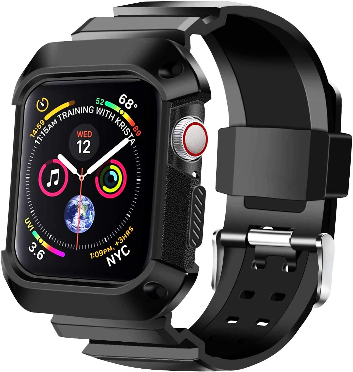 KUMEEK Compatible with Apple Watch Band 44mm 2018 with Case, Shock Resistant Rugged Protective Bumper Case with Soft Silicone Sport Strap for Apple Watch Series 4 44mm - Black