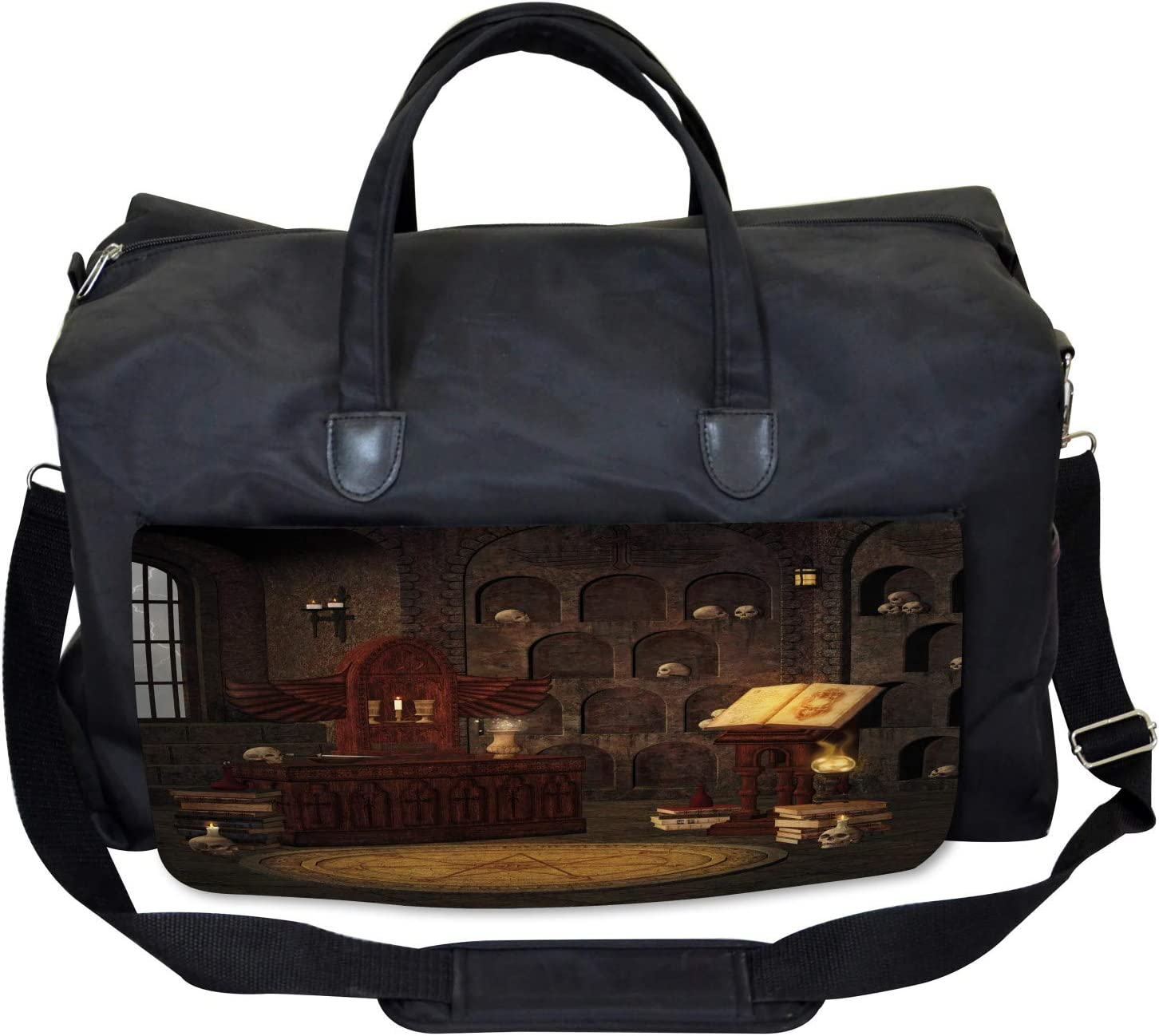 Large Weekender Carry-on Magicians with Skulls Ambesonne Gothic Gym Bag